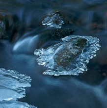 Ice Cream In A Stream, Brook Partly Frozen, Hesse, Germany, Europe