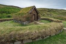 Wooden And Peat Buildings, Replica, Viking Farmhouse Stong, Open-air Museum Pjooveldisbaer, Pjorsardalsvegur, Iceland, Europe