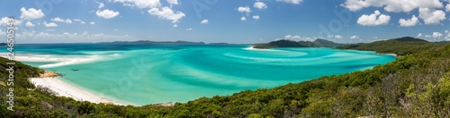 View of a sandy Beach, Whitehaven Beach and Hill Inlet, Great Barrier Reef Marine Park, Whitsunday Islands National Park, Whitsunday Island, Queensland, Australia, Oceania