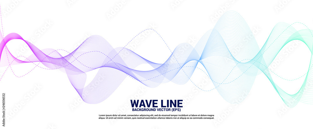 Fototapeta Blue and green Sound wave line curve on white background. Element for theme technology futuristic vector