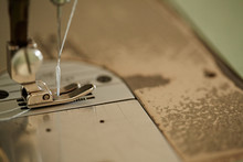 Closeup Of Thread In Sewing Machine