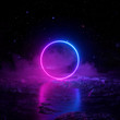 canvas print picture - 3d render, abstract background, cosmic landscape, round portal, pink blue neon light, virtual reality, energy source, glowing round frame, dark space, ultraviolet spectrum, laser ring, fog, ground