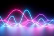 Leinwanddruck Bild 3d render, neon light, laser show, impulse, chart, ultraviolet spectrum, pulse power lines, quantum energy, pink blue violet glowing dynamic line, abstract background, reflection