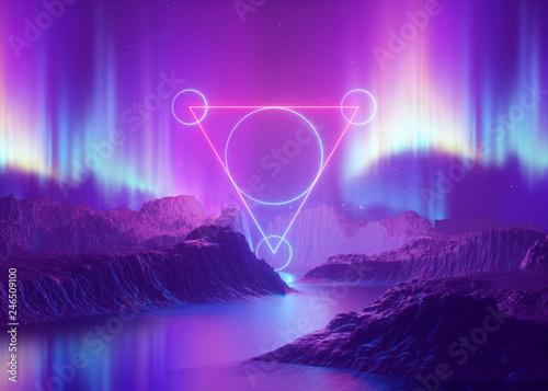 3d render, abstract background, cosmic landscape, aurora borealis, triangular po Fototapet