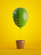 3d Render, Green Cactus Air Balloon Growing, Potted Plant, Isolated On Yellow Background, Metaphorical Concept, Design Element, Digital Illustration.