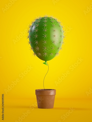 Carta da parati 3d render, green cactus air balloon growing, potted plant, isolated on yellow background, metaphorical concept, design element, digital illustration
