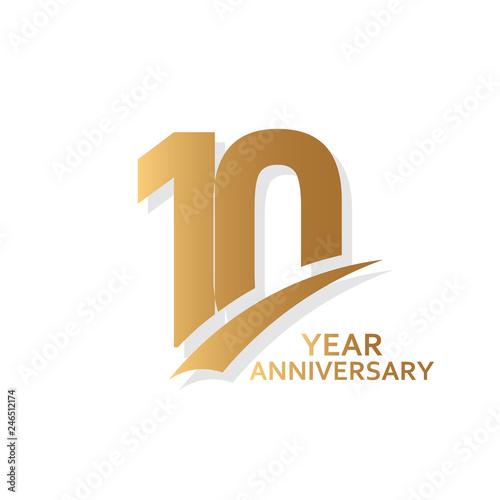 Photo 10 Year Anniversary Vector Template Design Illustration