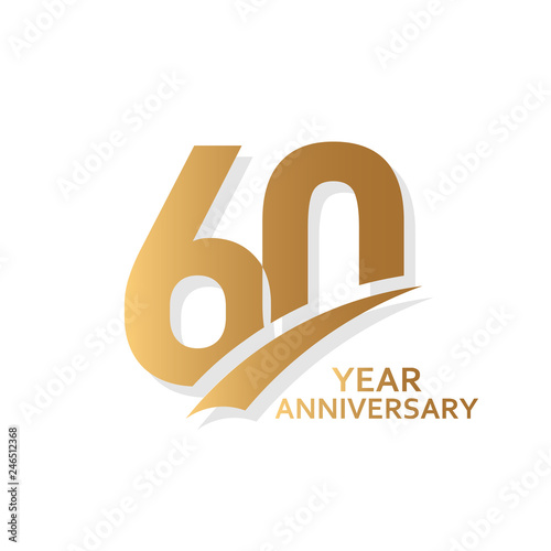 60 Year Anniversary Vector Template Design Illustration Tableau sur Toile