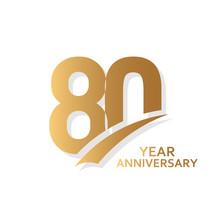 80 Year Anniversary Vector Tem...