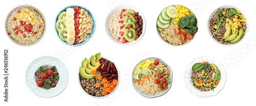 Set of healthy dishes with quinoa isolated on white, top view