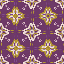 Geometric Flower Quilt Grid Pattern. Seamless Repeating. Hand Drawn Vector Illustration. 4 Petal Abstract Floral Lineart In Decorative Mustard Yellow Purple Background. Summer Fashion, Home Decor.