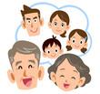 息子家族のことを思い浮かべて笑顔の老夫婦