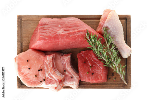 In de dag Aromatische Board with various raw meats and spices on white background, top view