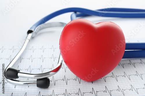 Red heart with stethoscope and cardiogram on white background, closeup Canvas Print