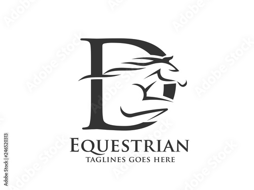 Fotografía creative initial letter D with abstract running stallion logo vector concept