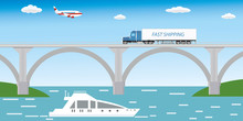 Different Transport - Long Truck On Bridge,aircraft In Sky And Boat On Water