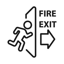 Fire Emergency Exit. Minimal Thin Line Web Icon. Simple Vector Illustration Outline. Concept For Infographic, Website Or App