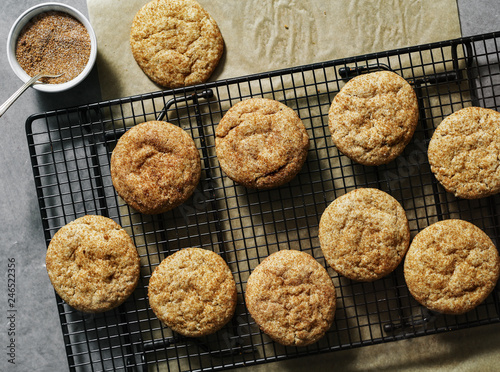 Closeup of Snickerdoodle cookies on a tray