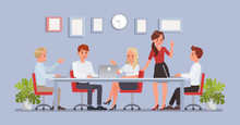 Business People Working In Office Character Vector Design. No4