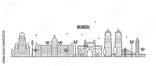 Fototapeta premium Mumbai skyline Maharashtra India city line vector
