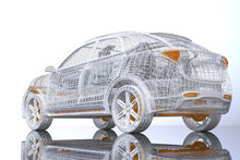 Rear View Of Silver And Yellow Wire Frame Of Electric SUV On Glossy Ground. 3D Rendering Image.