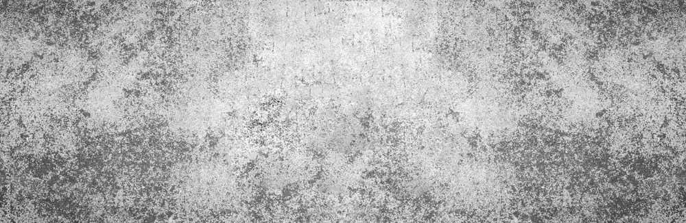 Fototapety, obrazy: Modern grey paint limestone texture wide screen background in white light seam home wall paper. Back flat subway concrete stone table floor concept surreal granite surface grunge pattern.
