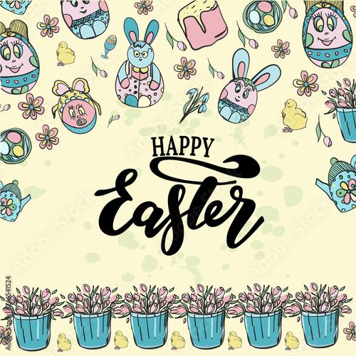 Valokuva  Vector illustration of Happy Easter