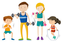 Family Workout Together On Whi...