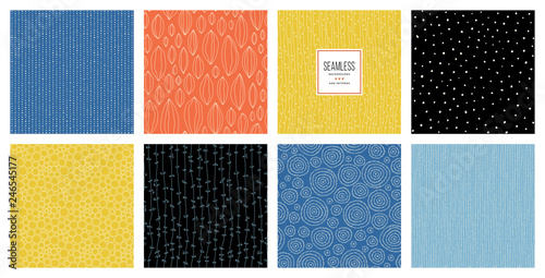 Fototapeten Künstlich Basic RGB Set of abstract square backgrounds and sketch dots textures. Vector illustration.