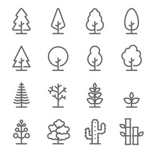 Tree Vector Line Icon Set. Con...