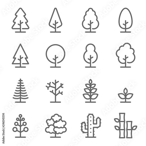 Obraz Tree Vector Line Icon Set. Contains such Icons as Wood, Plant, Pine, Cactus, Bamboo and more. Expanded Stroke - fototapety do salonu