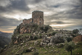 Medieval castle on a cliff on a cloudy day, Algoso, Vimioso, Miranda do Douro, Bragança, Tras-os-Montes, Portugal