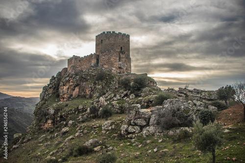 Slika na platnu Medieval castle on a cliff on a cloudy day, Algoso, Vimioso, Miranda do Douro, B