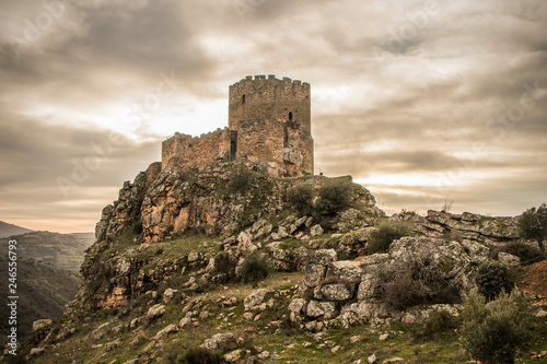 Canvas Print Medieval castle on a cliff on a cloudy day, Algoso, Vimioso, Miranda do Douro, B