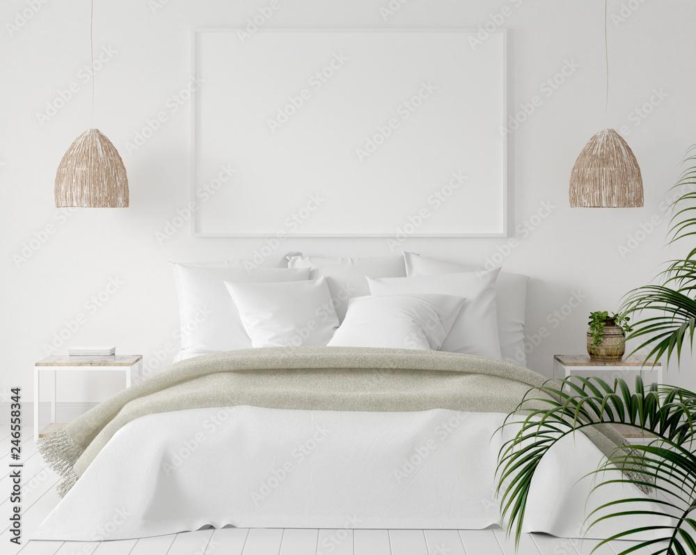 Fototapety, obrazy: Mock-up poster frame in bedroom, Scandinavian style, 3d render