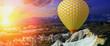 Hot air balloon yellow fabrics flying Tour