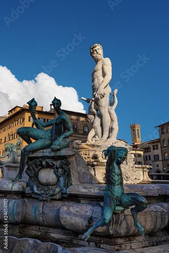 Fotografie, Obraz Fountain of Neptune - Roman God - Florence Italy