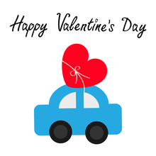 Happy Valentines Day. Toy Car Carrying Red Love Heart Shape Icon With Bow. Delivering Gift. Flat Design. Greeting Card. White Background. Isolated.