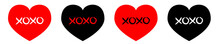 Red, Black Heart Line Icon Set. Xoxo Phrase Sketch Saying. Hugs And Kisses. Happy Valentines Day Sign Symbol. Cute Graphic Object. Love Greeting Card. Flat Design Style. Isolated. White Background.