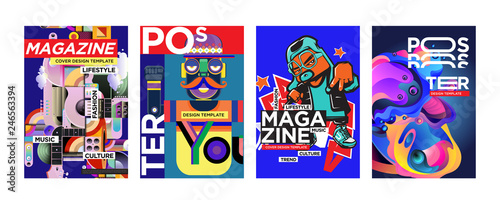 Fototapety, obrazy: Cover and Poster Design Template for Magazine. Trendy Vector Typography and Colorful Illustration Collage for Cover and Page Layout Design Template in eps10.