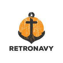Retro Anchor Navy Logo Icon Design Template Vector