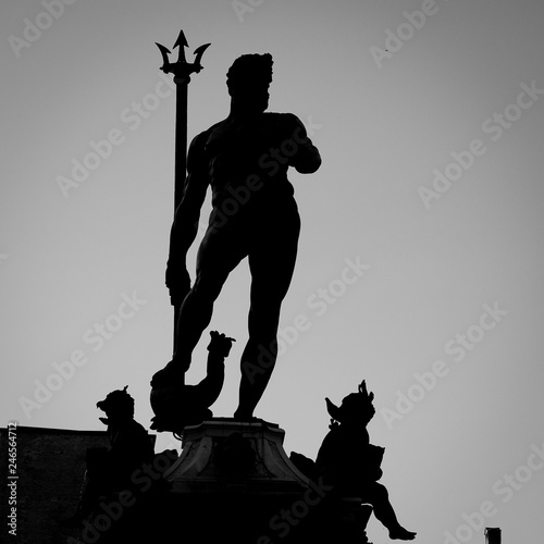 Fotobehang Historisch mon. Neptune statue silhouette