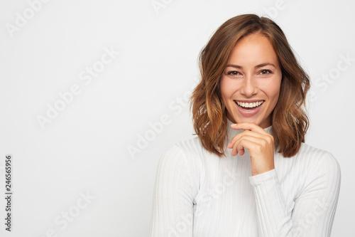 Obraz portrait of young happy woman  - fototapety do salonu