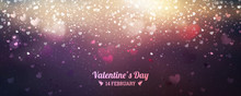 Valentines Day Background Of Red Hearts Falling. Element For Greeting Cards. Transparent Vector Effect