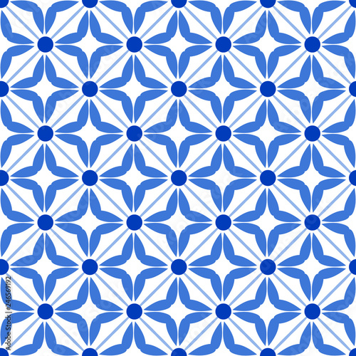 Photo Vintage seamless pattern in Portugal style azulejo