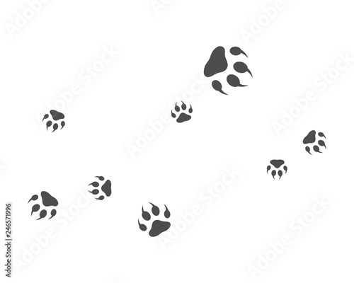 Staande foto Retro sign Paw background template