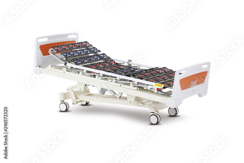 Mobile Hospital Bed under the white background Medical