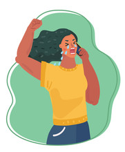 Upset Woman Crying On Phone.