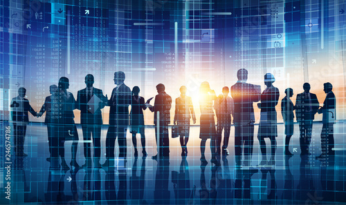 Large business group working concept illustration
