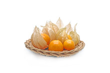 Cape Gooseberry (Physalis Peruviana) In Basket Isolated On White Background.
